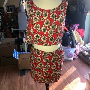 Floral 2 piece set top and skirt